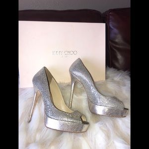 247CROWN glitter fabric-champagne JIMMY CHOO heels